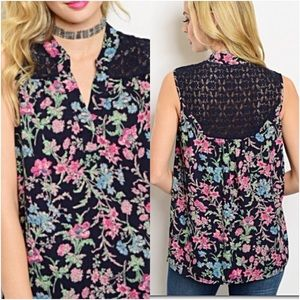 Flattering Floral & Lace  Tunic Tank Top SM NEW